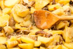 Fried potatoes with mushrooms Stock Photos