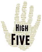 high five word cloud shape - stock illustration