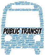 Public transit word cloud shape Stock Illustration