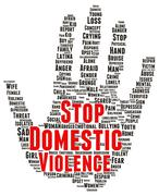 stop domestic violence word cloud shape - stock illustration