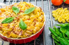 Stock Photo of baked homemade pasta with leeks, bacon and cream