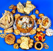 Confectionery and pastry , cookie , dry cush.flour pastry foods Stock Photos