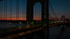 George Washington Bridge Pre-sunrise Timelapse 5 Stock Footage