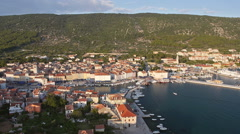 Aerial - City of Cres, Croatia. Small Adriatic town with marina Stock Footage