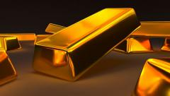 Animated falling fine bar of gold 2 Stock Footage
