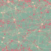 Dots connected with lines abstract background. Pink, turquoise, bordeaux, san - stock illustration