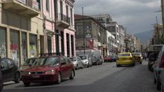 Athens Greece urban business street traffic fast 4K 062 Stock Footage
