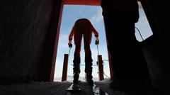 Alpine Ski Start Stock Footage