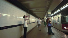 Subway Arriving New York City 6 Train Station Platform NYC Astor Place 4K Stock Footage