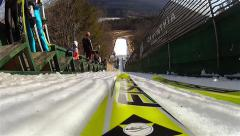 Ski Jumping POV Stock Footage