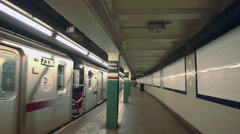 Subway Departing New York City 6 Train Station Platform NYC Astor Place 4K - stock footage