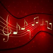 Vector abstract red musical background with golden notes stave and treble clef Stock Illustration