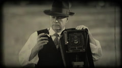 forties photographer with old film look - stock footage