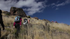 Stock Video Footage of Girls Hike Past Large Rock on Mt. Kenya