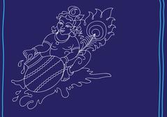 calligraphic lord krishna - stock illustration
