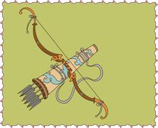 artistic ornamental bow, arrow and arrow holder (tashkar) in perspective - stock illustration