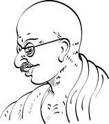 calligraphic mahatma gandhi ji, political and spiritual leader of india - stock illustration