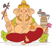 Ganesha the lord of wisdom Stock Illustration