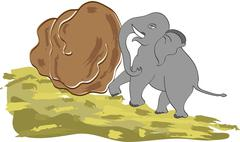 concept art, power : elephant pushing rock upwards with his head on the hill - stock illustration