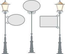 wrought iron signage with lamp, lantern - stock illustration