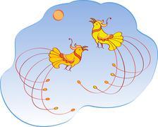 artistic bird - stock illustration