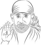 Stock Illustration of calligraphic shirdi sai baba