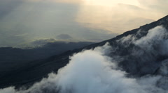 Clouds Over Ridge on Summit of Mt. Meru Tanzania Ariel Stock Footage
