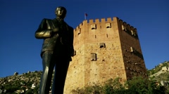 4K Mustafa Kemal Ataturk Statue in Alanya Turkey 1 Stock Footage