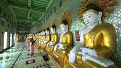 Novice Buddhist Nuns at U Min Thonze Pagoda, Sagaing, Mandalay, Myanmar (Burma) Stock Footage