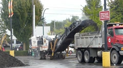 Asphalt Cold Milling Machine in Parking Lot Stock Footage