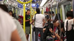 People in the Subway in Hong Kong, China Stock Footage