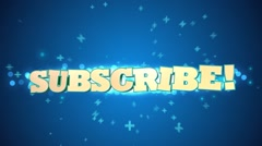 Blue subscribe 3D text animation for video blog - stock footage