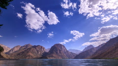 Lake in the mountains. Tajikistan, Iskander-Kul. Time Lapse. 1280x720 Stock Footage