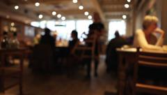 Stock Video Footage of Coffee Shop Cafe Diners Bar Blurred 2 (long take)