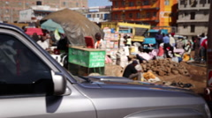 Drive By Kenyan Market Stock Footage
