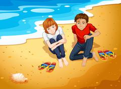 Couple and beach - stock illustration