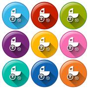 Round buttons with a baby stroller Stock Illustration