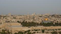 Jerusalem - Sunrise - View of Old City - 30P - UHD 4K Stock Footage