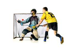 Floorball.attack. Stock Photos