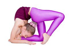 little gymnast.sporting exercise.flexibility.aerobics - stock photo