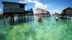 Tribe Sea Bajau's children Stock Footage