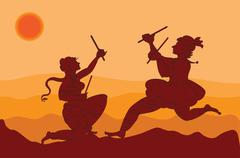 shadow art, dancers - stock illustration