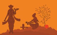 shadow art, women worshiping - stock illustration