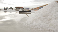 Sweepers and Salt Pile Stock Footage