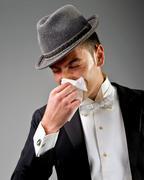rheum.sick man .illness - stock photo
