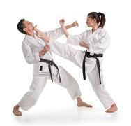 sparring.sport.karate. - stock photo
