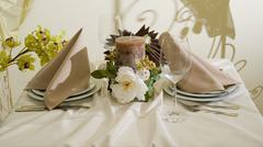 Decorated table.gala evening. Stock Photos