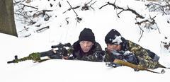 warriors with a weapon.ambush. commando - stock photo