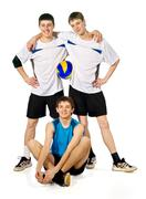 Group of young sportsmen with a ball Stock Photos