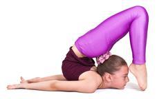 little gymnast .sporting exercise.stretch.flexibility.aerobics - stock photo